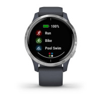 Garmin Venu Silver Stainless Steel Bezel with Granite Blue Case and Silicone Band (eco box)