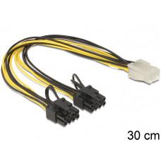 DELOCK 83433 Delock PCI Express power cable 6 pin female > 2 x 8 pin male 30 cm