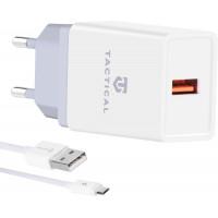 Tactical LZ-067 USB-A 3.1A Cestovní Nabíječka + MicroUSB Kabel White