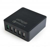 Energenie 5-portová rýchla nabíjačka USB, QC 3.0, čierna